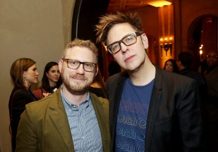 "HOLLYWOOD, CA - OCTOBER 10: Executive producer Jonathan Schwartz (L) and Screenwriter James Gunn at The World Premiere of Marvel Studios' ""Thor: Ragnarok"" at the El Capitan Theatre on October 10, 2017 in Hollywood, California. (Photo by Jesse Grant/Getty Images for Disney) *** Local Caption *** Jonathan Schwartz; James Gunn"