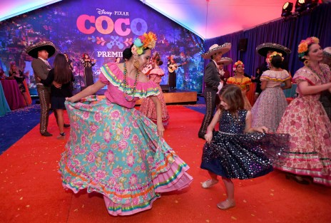 "HOLLYWOOD, CA - NOVEMBER 08: Dancers perform at the U.S. Premiere of Disney-Pixarís ""Coco"" at the El Capitan Theatre on November 8, 2017, in Hollywood, California. (Photo by Charley Gallay/Getty Images for Disney)"