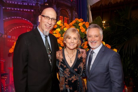 """HOLLYWOOD, CA - NOVEMBER 08: (L-R) Producer Roy Conli, Director Stevie Wermers-Skelton, and Director Kevin Deters of """"Olafís Frozen Adventure"""" at the U.S. Premiere of Disney-Pixarís """"Coco"""" at the El Capitan Theatre on November 8, 2017, in Hollywood, California. """"Olafís Frozen Adventure"""" featurette opens in front of Disney-Pixarís original feature ìCocoî for a limited time. (Photo by Jesse Grant/Getty Images for Disney) *** Local Caption *** Roy Conli; Stevie Wermers-Skelton; Kevin Deters"""