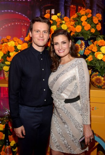 "HOLLYWOOD, CA - NOVEMBER 08: Actors Idina Menzel (L) and Jonathan Groff of ""Olafís Frozen Adventure"" at the U.S. Premiere of Disney-Pixarís ""Coco"" at the El Capitan Theatre on November 8, 2017, in Hollywood, California. ""Olafís Frozen Adventure"" featurette opens in front of Disney-Pixarís original feature ìCocoî for a limited time. (Photo by Jesse Grant/Getty Images for Disney) *** Local Caption *** Idina Menzel; Jonathan Groff"