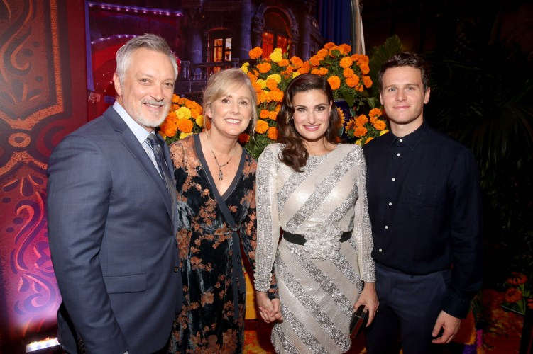 "HOLLYWOOD, CA - NOVEMBER 08: (L-R) Directors Kevin Deters and Stevie Wermers-Skelton, and Actors Idina Menzel and Jonathan Groff of ""Olafís Frozen Adventure"" at the U.S. Premiere of Disney-Pixarís ""Coco"" at the El Capitan Theatre on November 8, 2017, in Hollywood, California. ""Olafís Frozen Adventure"" featurette opens in front of Disney-Pixarís original feature ìCocoî for a limited time. (Photo by Jesse Grant/Getty Images for Disney) *** Local Caption *** Stevie Wermers-Skelton; Kevin Deters; Idina Menzel; Jonathan Groff"