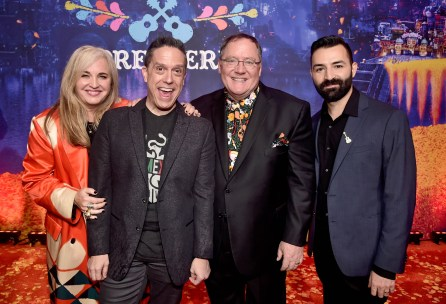 """HOLLYWOOD, CA - NOVEMBER 08: (L-R) Producer Darla K. Anderson, Director Lee Unkrich, Executive Producer John Lasseter, and Co-director/Screenwriter Adrian Molina at the U.S. Premiere of Disney-Pixarís """"Coco"""" at the El Capitan Theatre on November 8, 2017, in Hollywood, California. (Photo by Alberto E. Rodriguez/Getty Images for Disney) *** Local Caption *** Darla K. Anderson; Lee Unkrich; John Lasseter; Adrian Molina"""