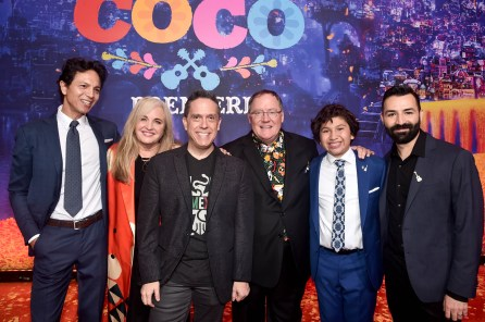 "HOLLYWOOD, CA - NOVEMBER 08: (L-R) Actor Benjamin Bratt, Producer Darla K. Anderson, Director Lee Unkrich, Executive Producer John Lasseter, Actor Anthony Gonzalez, and Co-director/Screenwriter Adrian Molina at the U.S. Premiere of Disney-Pixarís ""Coco"" at the El Capitan Theatre on November 8, 2017, in Hollywood, California. (Photo by Alberto E. Rodriguez/Getty Images for Disney) *** Local Caption *** Benjamin Bratt; Darla K. Anderson; Lee Unkrich; John Lasseter; Anthony Gonzalez; Adrian Molina"