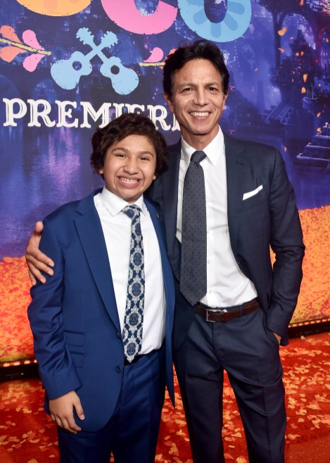 "HOLLYWOOD, CA - NOVEMBER 08: (L-R) Actors Anthony Gonzalez (L) and Benjamin Bratt at the U.S. Premiere of Disney-Pixarís ""Coco"" at the El Capitan Theatre on November 8, 2017, in Hollywood, California. (Photo by Alberto E. Rodriguez/Getty Images for Disney) *** Local Caption *** Anthony Gonzalez; Benjamin Bratt"