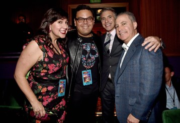 """HOLLYWOOD, CA - NOVEMBER 08: (L-R) Songwriters Kristen Anderson-Lopez, Robert Lopez, President, Marketing, The Walt Disney Studios, Ricky Strauss and Walt Disney Studios President, Alan Bergman at the U.S. Premiere of Disney-Pixarís """"Coco"""" at the El Capitan Theatre on November 8, 2017, in Hollywood, California. (Photo by Alberto E. Rodriguez/Getty Images for Disney) *** Local Caption *** Kristen Anderson-Lopez; Robert Lopez; Ricky Strauss; Alan Bergman"""