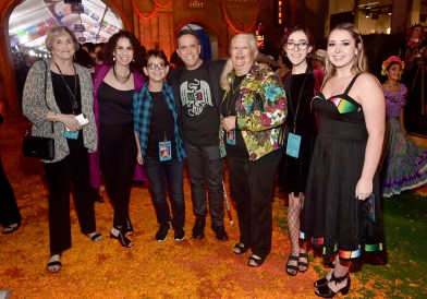 """HOLLYWOOD, CA - NOVEMBER 08: Director Lee Unkrich (C) with guests and family at the U.S. Premiere of Disney-Pixarís """"Coco"""" at the El Capitan Theatre on November 8, 2017, in Hollywood, California. (Photo by Alberto E. Rodriguez/Getty Images for Disney) *** Local Caption *** Lee Unkrich"""