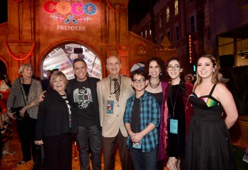 "HOLLYWOOD, CA - NOVEMBER 08: Director Lee Unkrich (2nd L) with guests and family at the U.S. Premiere of Disney-Pixarís ""Coco"" at the El Capitan Theatre on November 8, 2017, in Hollywood, California. (Photo by Alberto E. Rodriguez/Getty Images for Disney) *** Local Caption *** Lee Unkrich"