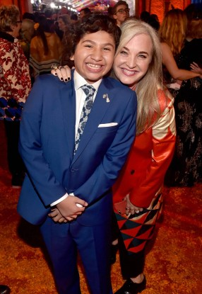 """HOLLYWOOD, CA - NOVEMBER 08: Actor Anthony Gonzalez (L) and Producer Darla K. Anderson at the U.S. Premiere of Disney-Pixarís """"Coco"""" at the El Capitan Theatre on November 8, 2017, in Hollywood, California. (Photo by Alberto E. Rodriguez/Getty Images for Disney) *** Local Caption *** Anthony Gonzalez; Darla K. Anderson"""