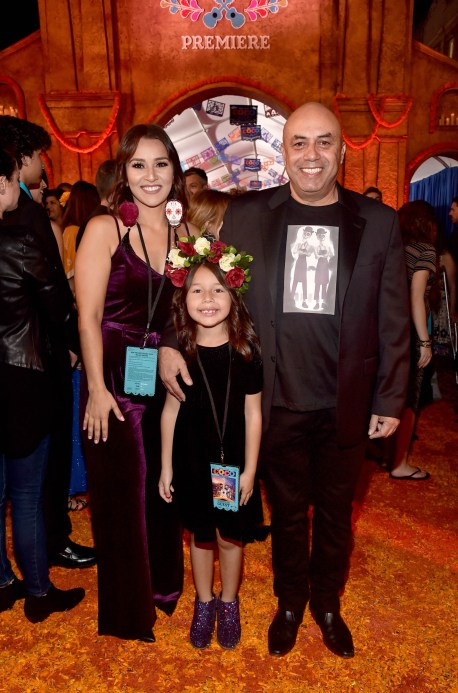 "HOLLYWOOD, CA - NOVEMBER 08: Actor Herbert Siguenza (R) and family at the U.S. Premiere of Disney-Pixarís ""Coco"" at the El Capitan Theatre on November 8, 2017, in Hollywood, California. (Photo by Alberto E. Rodriguez/Getty Images for Disney) *** Local Caption *** Herbert Siguenza"