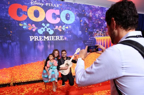 """HOLLYWOOD, CA - NOVEMBER 08: (L-R) Head of Daytime at CBS Angelica McDaniel and daughter, and guitarist Federico Ramos at the U.S. Premiere of Disney-Pixarís """"Coco"""" at the El Capitan Theatre on November 8, 2017, in Hollywood, California. (Photo by Jesse Grant/Getty Images for Disney) *** Local Caption *** Federico Ramos; Angelica McDaniel"""