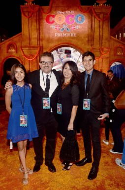 "HOLLYWOOD, CA - NOVEMBER 08: Artist and film consultant Lalo Alcaraz (2nd L) and guests at the U.S. Premiere of Disney-Pixarís ""Coco"" at the El Capitan Theatre on November 8, 2017, in Hollywood, California. (Photo by Alberto E. Rodriguez/Getty Images for Disney) *** Local Caption *** Lalo Alcaraz"