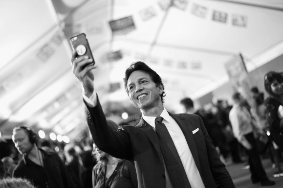 """HOLLYWOOD, CA - NOVEMBER 08: (EDITORS NOTE: Image has been converted to black and white) Actor Benjamin Bratt at the U.S. Premiere of Disney-Pixarís """"Coco"""" at the El Capitan Theatre on November 8, 2017, in Hollywood, California. (Photo by Charley Gallay/Getty Images for Disney) *** Local Caption *** Benjamin Bratt"""