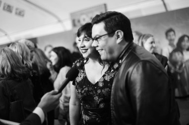 "HOLLYWOOD, CA - NOVEMBER 08: (EDITORS NOTE: Image has been converted to black and white) Songwriters Kristen Anderson-Lopez (L) and Robert Lopez at the U.S. Premiere of Disney-Pixarís ""Coco"" at the El Capitan Theatre on November 8, 2017, in Hollywood, California. (Photo by Charley Gallay/Getty Images for Disney) *** Local Caption *** Kristen Anderson-Lopez; Robert Lopez"