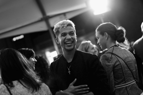 """HOLLYWOOD, CA - NOVEMBER 08: (EDITORS NOTE: Image has been converted to black and white) Singer/actor Jordan Fisher at the U.S. Premiere of Disney-Pixarís """"Coco"""" at the El Capitan Theatre on November 8, 2017, in Hollywood, California. (Photo by Charley Gallay/Getty Images for Disney) *** Local Caption *** Jordan Fisher"""