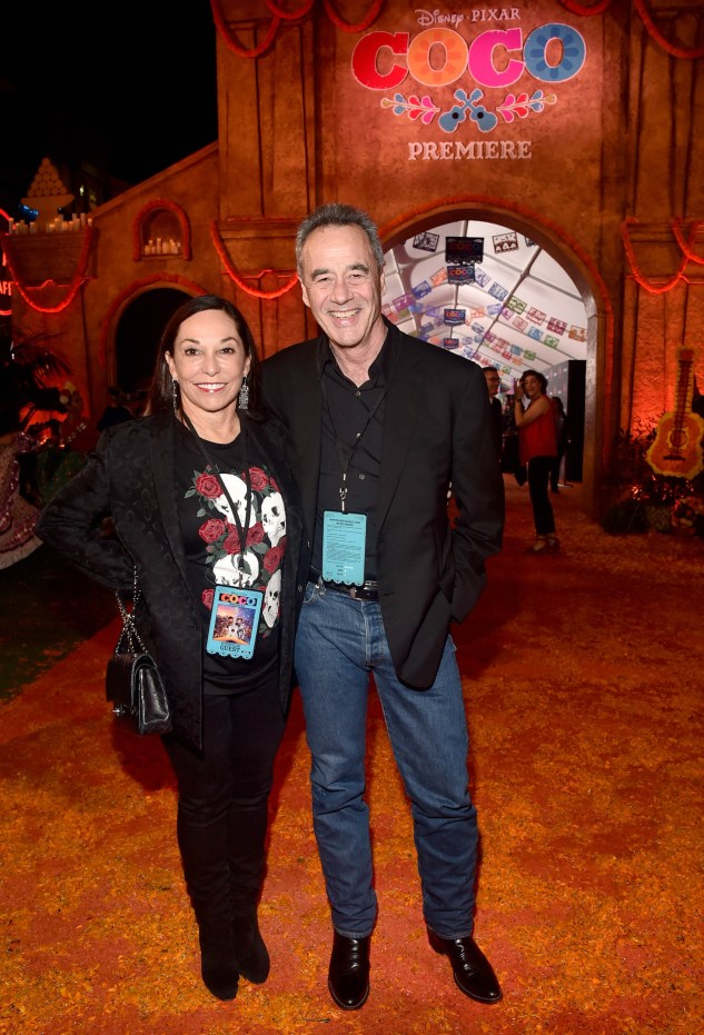 "HOLLYWOOD, CA - NOVEMBER 08: General Manager of Pixar Jim Morris (R) and Gail Morris at the U.S. Premiere of Disney-Pixarís ""Coco"" at the El Capitan Theatre on November 8, 2017, in Hollywood, California. (Photo by Alberto E. Rodriguez/Getty Images for Disney) *** Local Caption *** Jim Morris; Gail Morris"