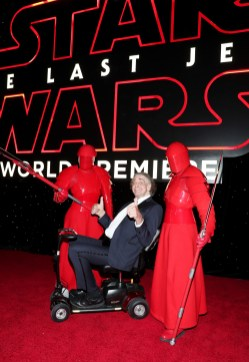 LOS ANGELES, CA - DECEMBER 09: Peter Mayhew (C) with the Praetorian Guard at Star Wars: The Last Jedi Premiere at The Shrine Auditorium on December 9, 2017 in Los Angeles, California. (Photo by Rich Polk/Getty Images for Disney) *** Local Caption *** Peter Mayhew