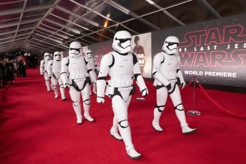 LOS ANGELES, CA - DECEMBER 09: Stormtroopers at Star Wars: The Last Jedi Premiere at The Shrine Auditorium on December 9, 2017 in Los Angeles, California. (Photo by Rich Polk/Getty Images for Disney)