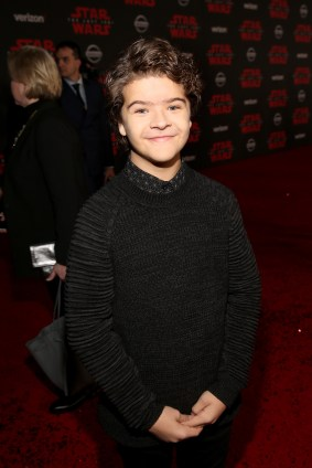 LOS ANGELES, CA - DECEMBER 09: Gaten Matarazzo at Star Wars: The Last Jedi Premiere at The Shrine Auditorium on December 9, 2017 in Los Angeles, California. (Photo by Jesse Grant/Getty Images for Disney) *** Local Caption *** Gaten Matarazzo