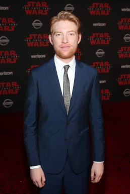 LOS ANGELES, CA - DECEMBER 09: Actor Domhnall Gleeson at Star Wars: The Last Jedi Premiere at The Shrine Auditorium on December 9, 2017 in Los Angeles, California. (Photo by Jesse Grant/Getty Images for Disney) *** Local Caption *** Domhnall Gleeson
