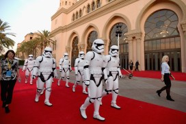 LOS ANGELES, CA - DECEMBER 09: Stormtroopers at Star Wars: The Last Jedi Premiere at The Shrine Auditorium on December 9, 2017 in Los Angeles, California. (Photo by Charley Gallay/Getty Images for for Disney)