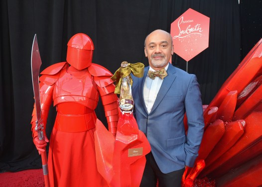 LOS ANGELES, CA - DECEMBER 09: Christian Louboutin with the Praetorian Guard at Star Wars: The Last Jedi Premiere at The Shrine Auditorium on December 9, 2017 in Los Angeles, California. (Photo by Charley Gallay/Getty Images for for Disney) *** Local Caption *** Christian Louboutin