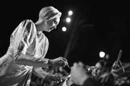 LOS ANGELES, CA - DECEMBER 09: (EDITOR NOTE: This image has been shot in black and white) Actor Gwendoline Christie at Star Wars: The Last Jedi Premiere at The Shrine Auditorium on December 9, 2017 in Los Angeles, California. (Photo by Charley Gallay/Getty Images for for Disney) *** Local Caption *** Gwendoline Christie