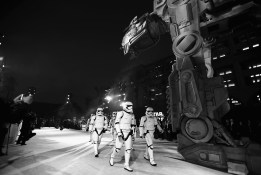 LOS ANGELES, CA - DECEMBER 09: (EDITOR NOTE: This image has been shot in black and white) Stormtroopers at Star Wars: The Last Jedi Premiere at The Shrine Auditorium on December 9, 2017 in Los Angeles, California. (Photo by Charley Gallay/Getty Images for for Disney)