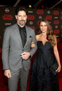 LOS ANGELES, CA - DECEMBER 09: Joe Manganiello (L) and Sofia Vergara at Star Wars: The Last Jedi Premiere at The Shrine Auditorium on December 9, 2017 in Los Angeles, California. (Photo by Jesse Grant/Getty Images for Disney) *** Local Caption *** Sofia Vergara; Joe Manganiello