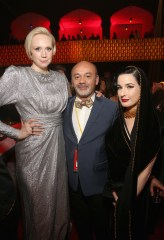 LOS ANGELES, CA - DECEMBER 09: (L-R) Actor Gwendoline Christie, Christian Louboutin, and Dita Von Teese at Star Wars: The Last Jedi Premiere at The Shrine Auditorium on December 9, 2017 in Los Angeles, California. (Photo by Jesse Grant/Getty Images for Disney) *** Local Caption *** Gwendoline Christie; Christian Louboutin; Dita Von Teese