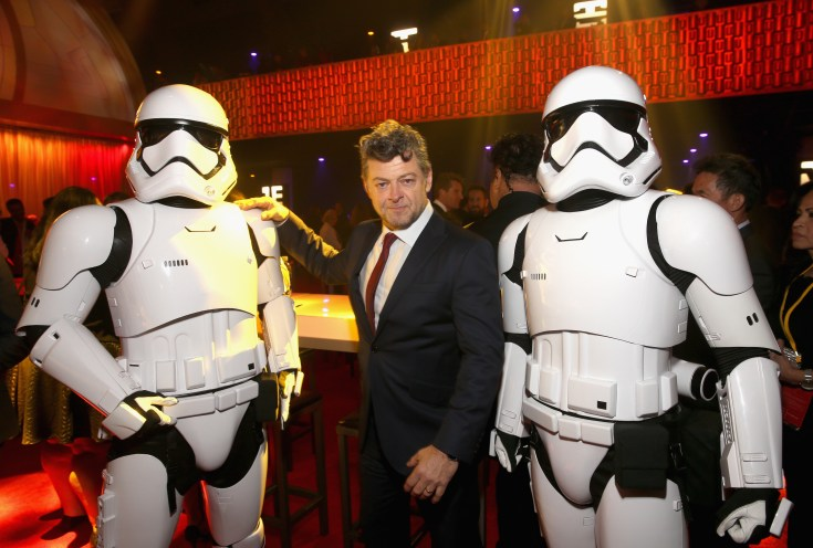 LOS ANGELES, CA - DECEMBER 09: Actor Andy Serkis (C) and stormtroopers at Star Wars: The Last Jedi Premiere at The Shrine Auditorium on December 9, 2017 in Los Angeles, California. (Photo by Jesse Grant/Getty Images for Disney) *** Local Caption *** Andy Serkis