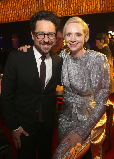 LOS ANGELES, CA - DECEMBER 09: Executive producer J.J. Abrams (L) and Actor Gwendoline Christie at Star Wars: The Last Jedi Premiere at The Shrine Auditorium on December 9, 2017 in Los Angeles, California. (Photo by Jesse Grant/Getty Images for Disney) *** Local Caption *** J.J. Abrams; Gwendoline Christie