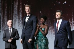 LOS ANGELES, CA - DECEMBER 09: (L-R) Actors Anthony Daniels, Joonas Suotamo, Lupita Nyong'o and Andy Serkis at Star Wars: The Last Jedi Premiere at The Shrine Auditorium on December 9, 2017 in Los Angeles, California. (Photo by Jesse Grant/Getty Images for Disney) *** Local Caption *** Anthony Daniels; Joonas Suotamo; Lupita Nyong'o; Andy Serkis