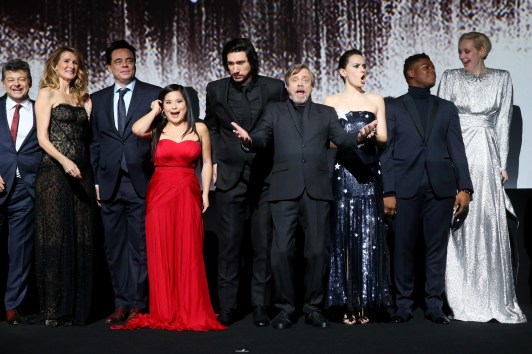 LOS ANGELES, CA - DECEMBER 09: (L-R) Actors Andy Serkis, Laura Dern, Benicio del Toro, Kelly Marie Tran, Adam Driver, Mark Hamill, Daisy Ridley, John Boyega and Gwendoline Christie at Star Wars: The Last Jedi Premiere at The Shrine Auditorium on December 9, 2017 in Los Angeles, California. (Photo by Jesse Grant/Getty Images for Disney) *** Local Caption *** Andy Serkis; Laura Dern; Benicio del Toro; Kelly Marie Tran; Adam Driver; Mark Hamill; Daisy Ridley; John Boyega; Gwendoline Christie