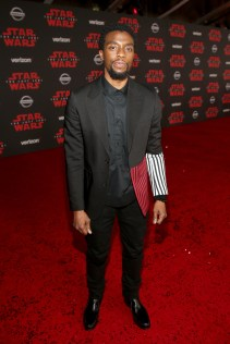 LOS ANGELES, CA - DECEMBER 09: Actor Chadwick Boseman at Star Wars: The Last Jedi Premiere at The Shrine Auditorium on December 9, 2017 in Los Angeles, California. (Photo by Jesse Grant/Getty Images for Disney) *** Local Caption *** Chadwick Boseman