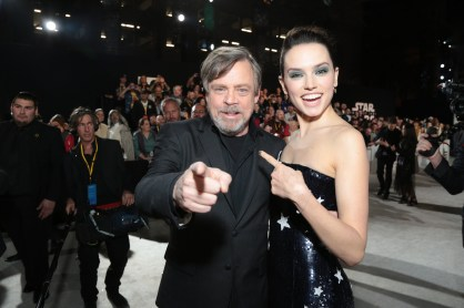Mark Hamill and Daisy Ridley arrive on the red carpet for the world premiere of LucasfilmÕs Star Wars: The Last Jedi at the Shrine Auditorium in Los Angeles, December 9, 2017..(Photo: Alex J. Berliner / ABImages )