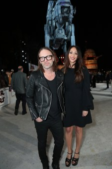 Thom Yorke and Dajana Roncione arrive on the red carpet for the world premiere of LucasfilmÕs Star Wars: The Last Jedi at the Shrine Auditorium in Los Angeles, December 9, 2017..(Photo: Alex J. Berliner / ABImages )