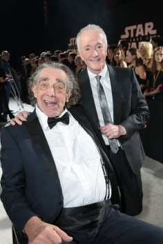 Peter Mayhew and Anthony Daniels arrive on the red carpet for the world premiere of LucasfilmÕs Star Wars: The Last Jedi at the Shrine Auditorium in Los Angeles, December 9, 2017. (Photo: Alex J. Berliner / ABImages )