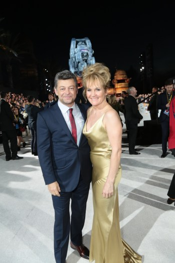 Andy Serkis and Lorraine Ashbourne arrive on the red carpet for the world premiere of LucasfilmÕs Star Wars: The Last Jedi at the Shrine Auditorium in Los Angeles, December 9, 2017..(Photo: Alex J. Berliner / ABImages )