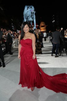 Kelly Marie Tran arrives on the red carpet for the world premiere of LucasfilmÕs Star Wars: The Last Jedi at the Shrine Auditorium in Los Angeles, December 9, 2017..(Photo: Alex J. Berliner / ABImages )