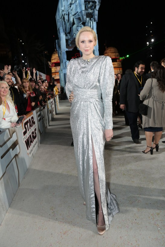 Gwendoline Christie arrives on the red carpet for the world premiere of LucasfilmÕs Star Wars: The Last Jedi at the Shrine Auditorium in Los Angeles, December 9, 2017..(Photo: Alex J. Berliner / ABImages ).