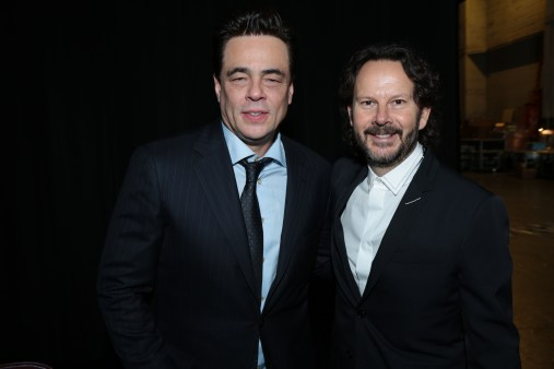 Benicio Del Tero and Ram Bergman pose together on the red carpet for the world premiere of LucasfilmÕs Star Wars: The Last Jedi at the Shrine Auditorium in Los Angeles, December 9, 2017..(Photo: Alex J. Berliner / ABImages )