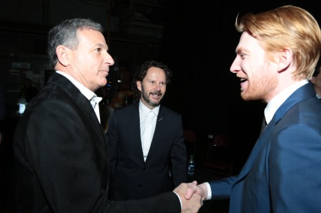 Bob Iger, Ram Bergman and Domhnall Gleeson chat backstage for the world premiere of LucasfilmÕs Star Wars: The Last Jedi at the Shrine Auditorium in Los Angeles, December 9, 2017..(Photo: Alex J. Berliner / ABImages )