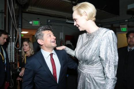 Andy Serkis and Gwendoline Christie share a moment backstage for the world premiere of LucasfilmÕs Star Wars: The Last Jedi at the Shrine Auditorium in Los Angeles, December 9, 2017..(Photo: Alex J. Berliner / ABImages )