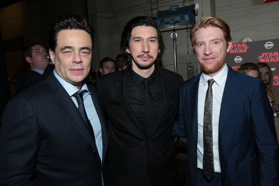 Benicio Del Toro, Adam Driver and Domhnall Gleeson pose together backstage for the world premiere of LucasfilmÕs Star Wars: The Last Jedi at the Shrine Auditorium in Los Angeles, December 9, 2017..(Photo: Alex J. Berliner / ABImages ).