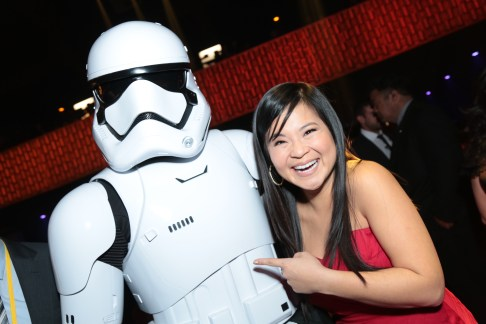 Kelly Marie Tran poses with a Storm Trooper at the after party for the world premiere of LucasfilmÕs Star Wars: The Last Jedi at the Shrine Auditorium in Los Angeles, December 9, 2017..(Photo: Alex J. Berliner / ABImages ).