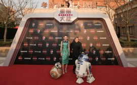 Daisy Ridley and Mark Hamill attend the Shanghai premiere of the highly anticipated Star Wars: The Last Jedi.