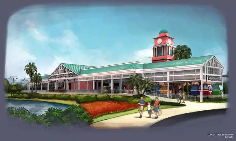 Disney Skyliner Transportation System - Disney's Caribbean Beach Resort Station Rendering