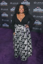 HOLLYWOOD, CA - JANUARY 29: Actor Amber Riley at the Los Angeles World Premiere of Marvel Studios' BLACK PANTHER at Dolby Theatre on January 29, 2018 in Hollywood, California. (Photo by Jesse Grant/Getty Images for Disney) *** Local Caption *** Amber Riley
