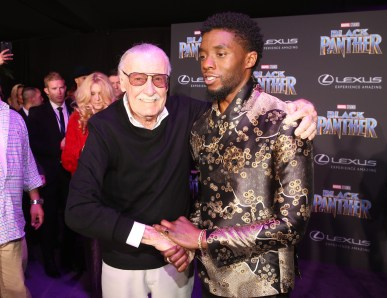 HOLLYWOOD, CA - JANUARY 29: Executive producer Stan Lee (L) and actor Chadwick Boseman at the Los Angeles World Premiere of Marvel Studios' BLACK PANTHER at Dolby Theatre on January 29, 2018 in Hollywood, California. (Photo by Jesse Grant/Getty Images for Disney) *** Local Caption *** Stan Lee; Chadwick Boseman