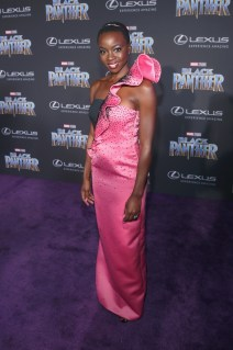 HOLLYWOOD, CA - JANUARY 29: Actor Danai Gurira at the Los Angeles World Premiere of Marvel Studios' BLACK PANTHER at Dolby Theatre on January 29, 2018 in Hollywood, California. (Photo by Jesse Grant/Getty Images for Disney) *** Local Caption *** Danai Gurira